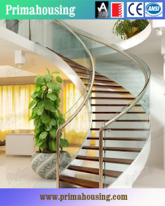 Interior Solid Wood Curved Staircase with Tempered Glass Balustrade pictures & photos