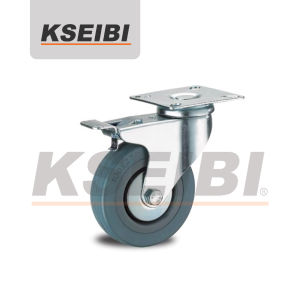 Hot Sales Kseibi Swivel Gray Rubber Caster with Brakes pictures & photos