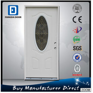 Small Oval Tempered Glass Primed White Steel Prehung Exterior Entry Door with Wooden Frame pictures & photos