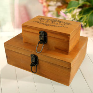 Custom High Grade Rectangle Pine Wood Box for Promotion pictures & photos