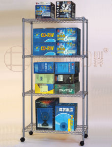 Light Duty Mobile Chrome Steel Wire Shelf Rack (CJ9045180A4W2)