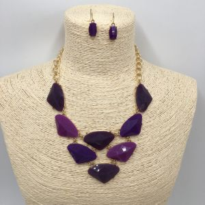 Wholesale Fashion Jewellry Sets with Colors Stone Pendant and Earrings for Women pictures & photos