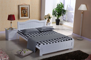 White Color Double Bed Made by Solid Wood (M-X1087) pictures & photos