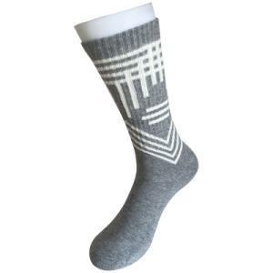 Half Cushion Cotton Fashion Logo Sport Grey Socks (JMCC07) pictures & photos