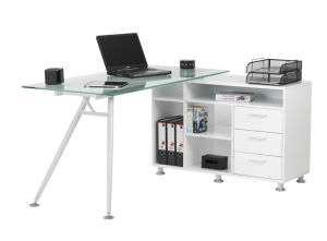 Contemporary L Shaped Glass & Metal Office Desk with Side Cabinet pictures & photos