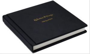 Leather Cover with Name Gold Imprint Custom Wedding Album for Photographer