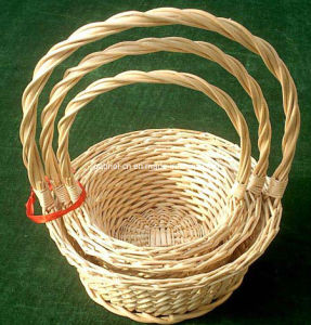 Wicker Flower Basket with Handle S/3 (M806)