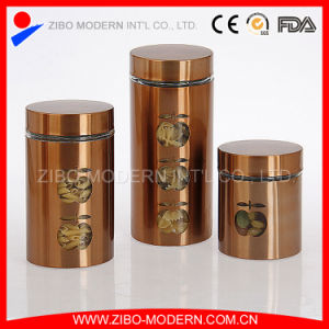 Custom Mat Stainless Steel Coated Glass Cookie Storage Jars with Lids pictures & photos