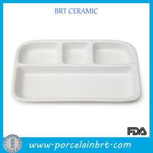 Hot Sale Cheap White Ceramic Compartment Plate pictures & photos