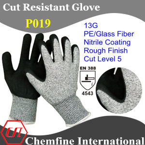 13G PE/Glass Fiber Knitted Glove with Nitrile Rough Coated Palm/ En388: 4543 pictures & photos