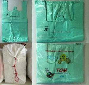 Supermarket Custom Logo Transparent T-Shirt Vest Shopping Bags pictures & photos