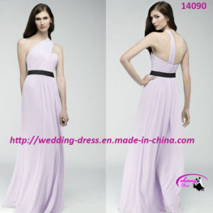 New Fresh Purple Bridesmaids Dress with One-Shoulder pictures & photos