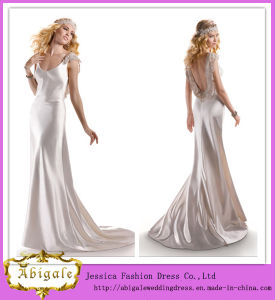 New Designed Full Length Sheath V-Neck Backless Satin Sexy Wedding Night Dresses (PD10033)