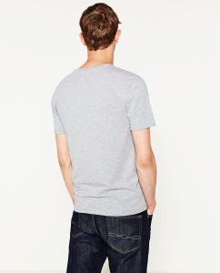 Cotton Short Sleeve V-Collar T-Shirt pictures & photos