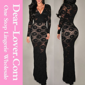 Black Lace Long Sleeve Evening Dress pictures & photos