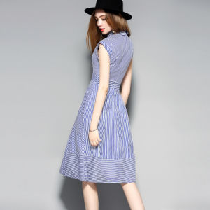 Blue and White Stripes Sweet Women Dress with Pocket pictures & photos
