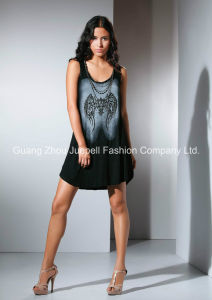 Knit Rayon Printing Beaded Fashion Women Mini Dress pictures & photos
