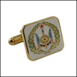 Gold Plated Metal Cufflink with Colorful Logo (GZHY-XK-027) pictures & photos