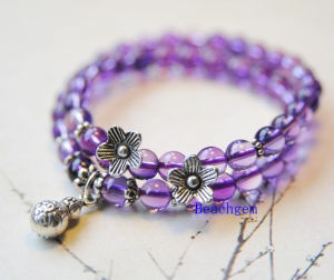 Natural Amethyst Beads Bracelet with Silver Charm (BRG0033)
