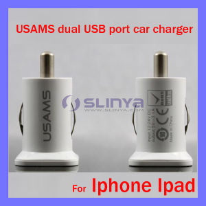 Dual Plug 5V 1A 2.1A High Current Tablet Auto USB Charger for iPad Air pictures & photos