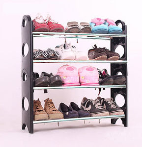 4-Tier Shoe Organizer Storage Floor Standing Rack 12 Pairs Plastic pictures & photos