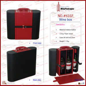 Black & Red Leather Box for High-End Red Wine (6107) pictures & photos