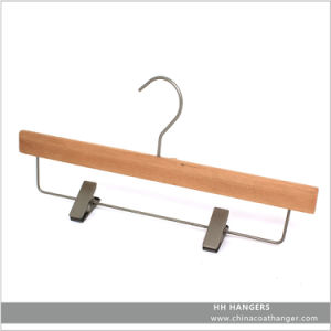 Natural Wooden Trousers Hangers with Metal Clips pictures & photos