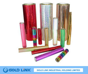 Self Adheisve Gold Holographic Pet Sticker Film pictures & photos