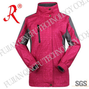 Hooded Waterproof Outdoor Jacket with Micro Fleece (QF-648) pictures & photos