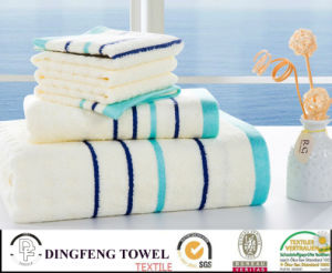 Hot Selling 2016 Solid Color Satin Boarder Series Plain Weaving 100% Bamboo Beach Towel Set Df-N127 pictures & photos
