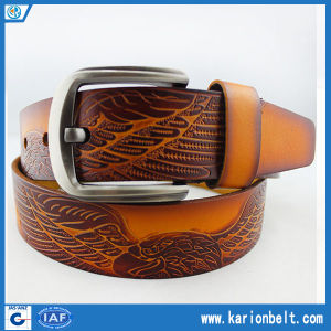 Wide Top Quality Mens Embossed Eagle Second Leather Belt (40-13068)