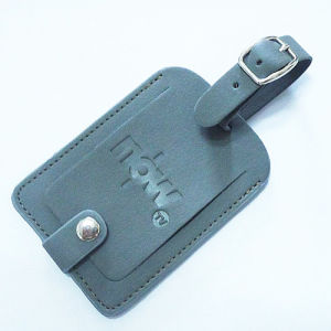 Promotional PU Leather Name Luggage Tag with Stamp Logo (B1002) pictures & photos