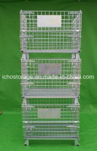 Ce Approved Warehouse Storage Galvanized Foldable Wire Mesh Container pictures & photos