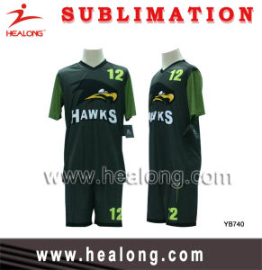 Healong Full Sublimation Royal Green and Black Customized Design Soccer Set (Football Set) pictures & photos