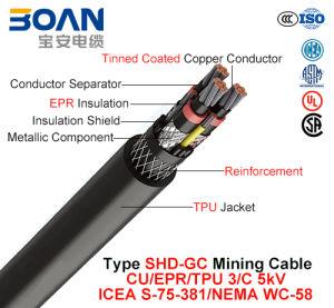 Type Shd-Gc, Mining Cable, Cu/Epr/TPU, 3/C, 5kv (ICEA S-75-381/NEMA WC-58) pictures & photos