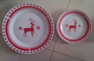 Porcelain Red Decal Dinner Plate Set, Dinnerware Set