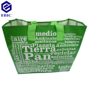 Coated Woven Nonwoven RPET Shopping Bag with Handles and Printing pictures & photos