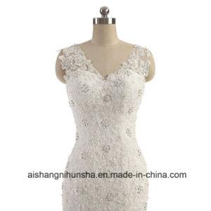 Lace Elegant Sleeveless V Neck Wedding Dress Bridesmaid Dress pictures & photos