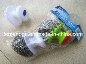 Plastic Handle Stainless Steel Scrubber (13B61) pictures & photos