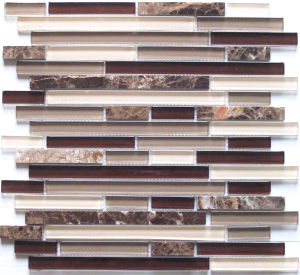 Strip Stone Mix Glass Mosaic Wall Tile (HGM269) pictures & photos