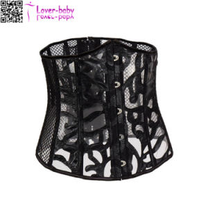 Back Lace-up Fishnet Bustiers Sexy Underbust Corsets L42713-1 pictures & photos