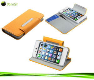 Leather Wallet Kickstand and Screen Protector for iPhone 5 -Yellow