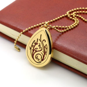 Custom Gold Waterdrop Design Engraved Essential Oil Perfume Stainless Locket