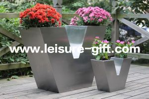 Fo-9029 V-Type Stainless Steel Decor Flower Pot pictures & photos
