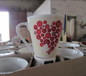 V-Shaped Full Decal Printing Stoneware Promotional Mug (WSY816M)