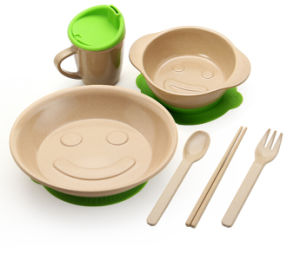 Non-Toxic Rice Husk Fibre Children Tableware Set #2 pictures & photos