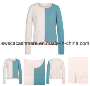 Women′s Pure Cashmere Sweater with Wide Color Stripes