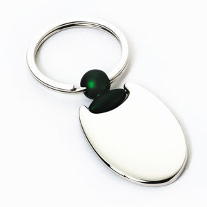 Promotional Paint Metal Both Side Logo Oval Key Holder (F1364) pictures & photos