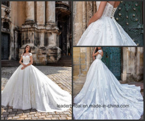 Blue Color Accent Bridal Ball Gowns Crystal Lace Tulle Wedding Dress 2017 Wl02 pictures & photos