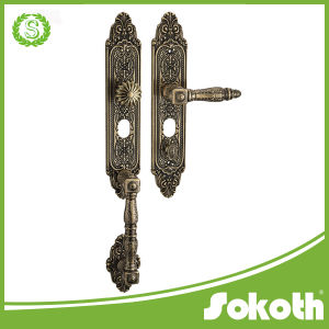 on The Plate Eruopean Style Classical Brass Door Handle, pictures & photos